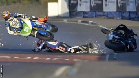 Ryan Farquhar collided with Dan Cooper during one of the Supertwin races at this year's North West 200