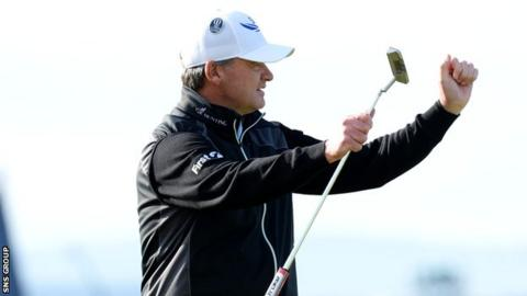 Paul Lawrie is in a share of third place at the halfway stage at St Andrews