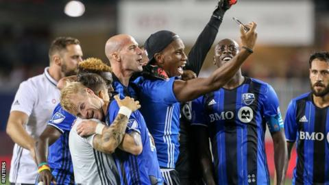 Montreal's Didier Drogba celebrates his side's victory over MLS rivals Toronto