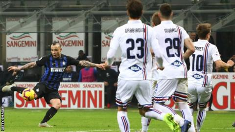 Radja Nainggolan scores for Inter against Sampdoria in Serie A