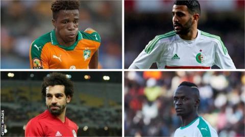 Wilfried Zaha, Riyad Mahrez, Mohamed Salah, Sadio Mane