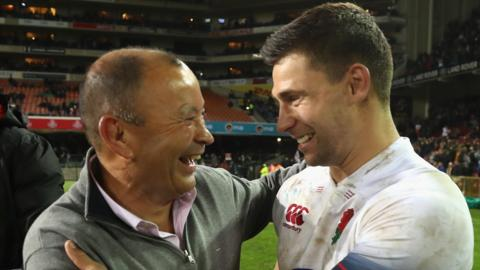 All smiles for head coach Eddie Jones and scrum-half Ben Youngs as England get back to winning ways