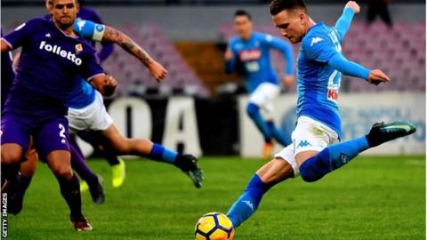 Piotr Zielinski in action for Napoli against Fiorentina