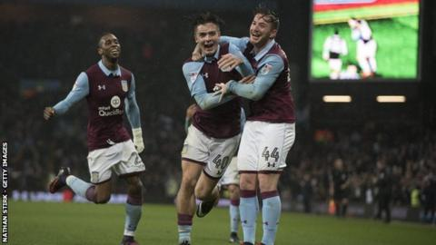 Jack Grealish celebrates his first Villa Park matchwinner, against Wigan, with his team-mates