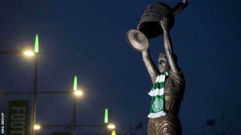 Fans gathered at the statue of Billy McNeill to pay their respects