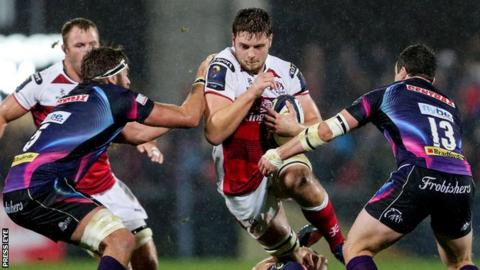 Iain Henderson is tackled by two Exeter players during Ulster's 19-18 Champions Cup win