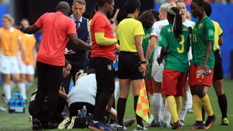 England and Cameroon players during the Women's World Cup