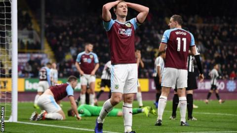 Ben Mee reacts to a missed Burnley chance