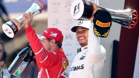 Mercedes F1 driver Lewis Hamilton and Ferrari F1 driver Sebastian Vettel