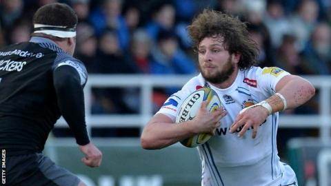 Alec Heburn on the charge for Exeter