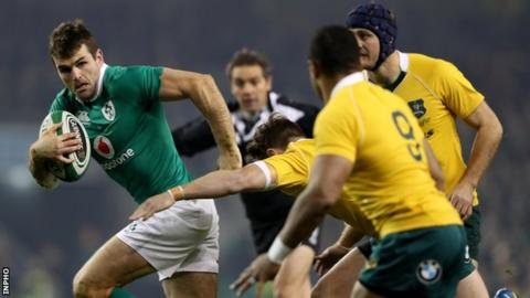 Jared Payne goes clear in last weekend's victory over Australia at the Aviva Stadium