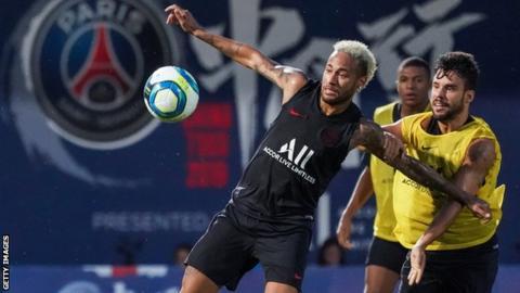 Paris St-Germain and Brazil forward Neymar in training