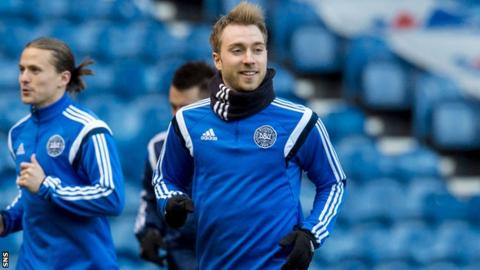 Denmark midfielder Christian Eriksen trains at Ibrox