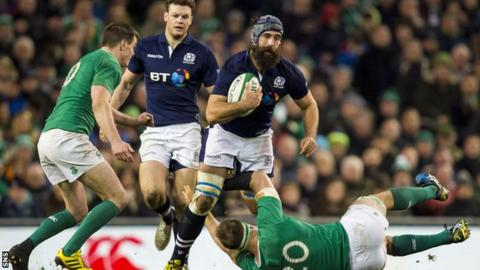 Josh Strauss in action against Ireland