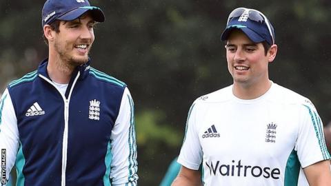 Steven Finn and Alastair Cook