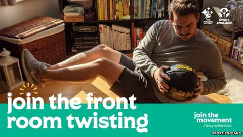 """A man twisting round in his front room with a medicine ball and words reading """"join the front room twisting"""""""