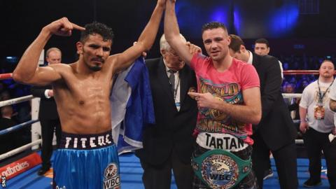 Josh Taylor celebrates his title defence against Miguel Vazquez