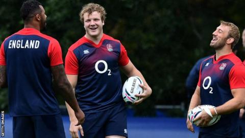 England captain Chris Robshaw (far right) with Courtney Lawes and Joe Launchbury