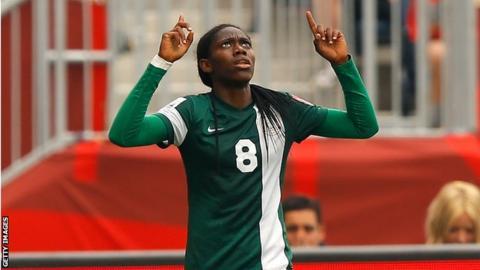 Nigeria's Asisat Oshoala at the 2015 Women's World Cup