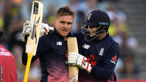 Jason Roy celebrates his century with Joe Root