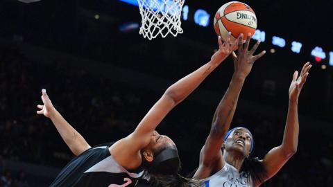 - LAS VEGAS, NV - JUNE 24: A'ja Wilson #22 of the Las Vegas Aces battles for a rebound against Sylvia Fowles #34 of the Minnesota Lynx during their game at the Mandalay Bay Events Center on June 24, 2018 in Las Vegas, Nevada. The Lynx won 88-73. NOTE TO USER: User expressly acknowledges and agrees that, by downloading and or using this photograph, User is consenting to the terms and conditions of the Getty Images License Agreement. (Photo by Sam Wasson/Getty Images)