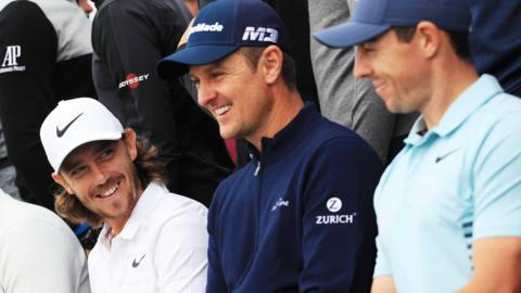 Tommy Fleetwood, Justin Rose and Rory McIlroy (left to right) will be hoping to feature for Europe at the 2018 Ryder Cup