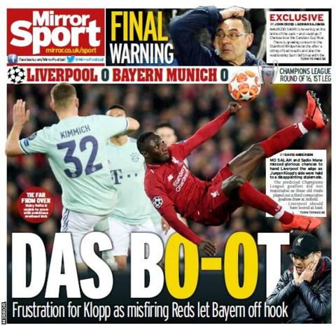 Wednesday's Daily Mirror