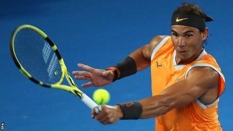 Nadal in action against Tiafoe