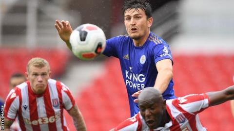 Harry Maguire playing in Leicester's friendly against Stoke