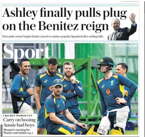 Tuesday's Telegraph back page