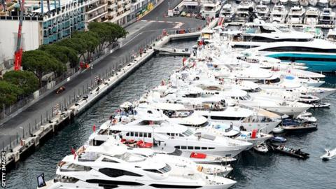 Yachts in the harbour watch the Monaco Grand Prix