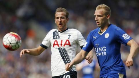 Tottenham's Harry Kane and Leicester's Ritchie De Laet