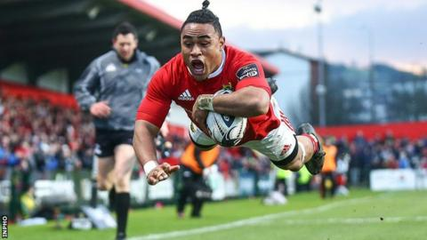 Francis Saili leaps to score Munster's second try at Musgrave Park