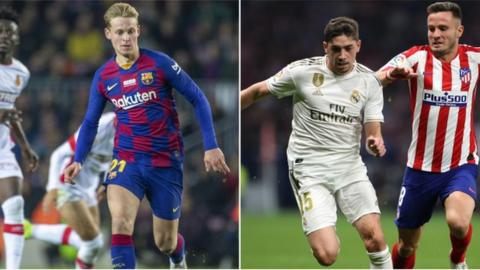 Football Barcelona's Frenkie de Jong & Real Madrid's Fede Valverde