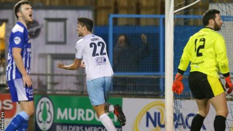 Despair for Newry but joy for Adam Lecky as he celebrates scoring the opener on Friday night