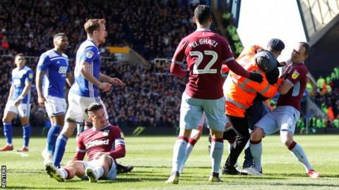Jack Grealish was attacked during the game between Birmingham City and Aston Villa on Sunday
