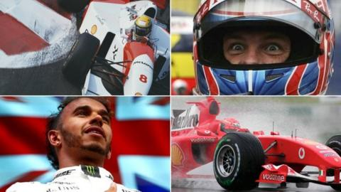 Ayrton Senna, Jenson Button, Lewis Hamilton and Michael Schumacher