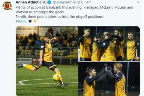 Annan Athletic tweet