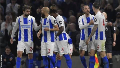 Brighton players celebrate