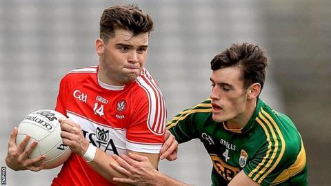 Derry's Fergal Higgins and Kerry's Graham O'Sullivan