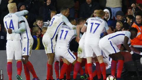 England celebrate the winning goal