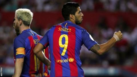 Lionel Messi (left) and Luis Suarez started for Barcelona