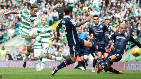 Stefan Johansen scores for Celtic against Ross County