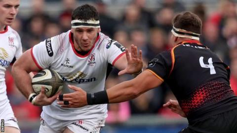 Ulster try-scorer Marcell Coetzee fends off Kings lock Andries Van Schalkwyk