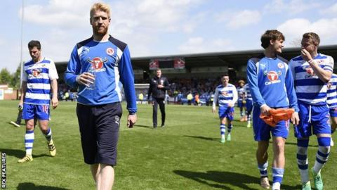 Reading players at full-time after victory at Burton