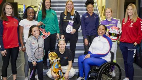 (l-r) Georgina Roberts (shooting), Marilyn Okoro (athletics), Rachel Choong (Para-badminton), Siobhan Prior (basketball), Lucy Adams (skateboard), Stacey Copeland (boxing), Alice Dearing (swimming), Alice Powell (motor racing), Caitlin Beevers (rugby league), Vanessa Wallace (Para-shot put)