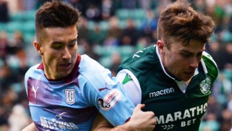 Dundee's Cammy Kerr and Hibernian's Lewis Stevenson