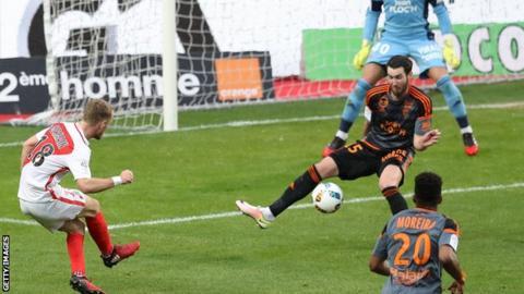 Valere Germain scores Monaco's third against Lorient