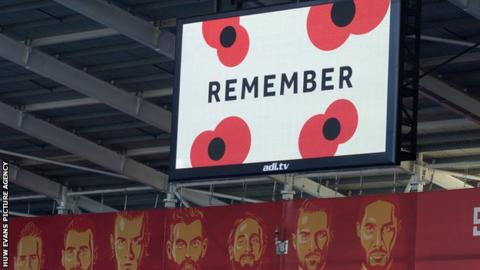 Poppies on the screen at Cardiff City Stadium