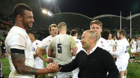 Courtney Lawes (left) with England head coach Eddie Jones